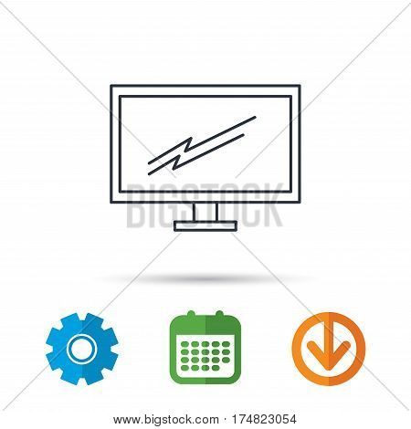 PC monitor icon. Led TV sign. Widescreen display symbol. Calendar, cogwheel and download arrow signs. Colored flat web icons. Vector