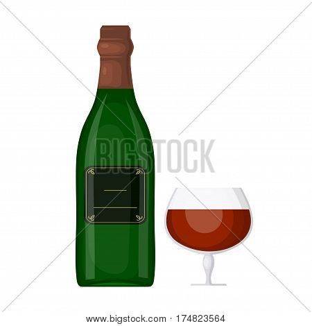 Green bottle of wine with a glass on a white background. Cartoon style. The subject of the festive table. Element for your design. Stock vector illustration