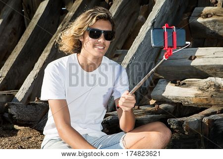 Smiling Man Shooting Selfie