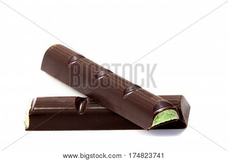 Chocolate candies isolated on white background. ,