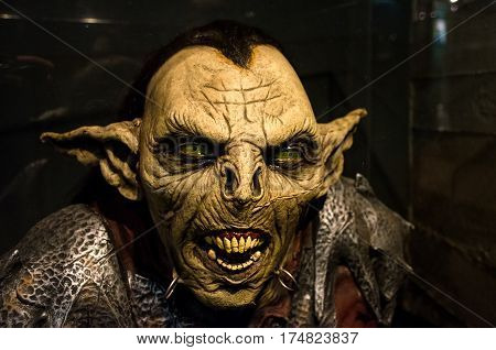 Turin Italy March 8 2013: reproduction a Moria goblin orc from the Lord of the Ring movie exhibited inside the National Museum of Cinema