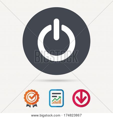 On, off power icon. Energy switch symbol. Report document, award medal with tick and new tag signs. Colored flat web icons. Vector