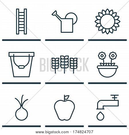 Set Of 9 Garden Icons. Includes Stairway, Bailer, Taste Apple And Other Symbols. Beautiful Design Elements.