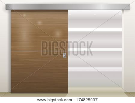 Sliding door wardrobe or dressing room changing rooms shop with a wood texture in vector graphics