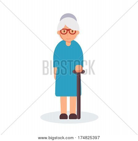 Old woman with cane. Senior lady with glasses. Vector stock.