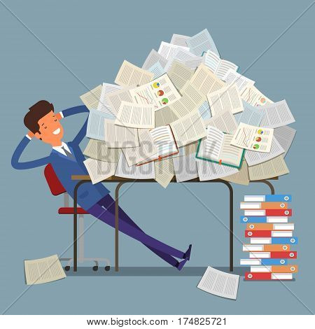 Concept of workload. Businessman buried under a pile of books, textbooks and papers. Flat design, vector illustration.