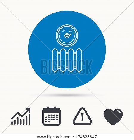Radiator with regulator icon. Heater sign. Maximum temperature. Calendar, attention sign and growth chart. Button with web icon. Vector