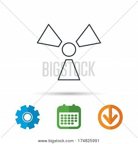 Radiation icon. Radiology sign. Calendar, cogwheel and download arrow signs. Colored flat web icons. Vector