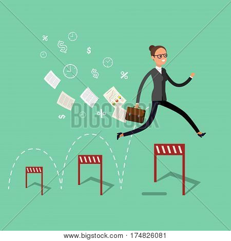 Concept of success. Business woman jumping over hurdle.