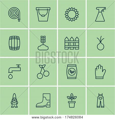 Set Of 16 Garden Icons. Includes Helianthus, Spigot, Dwarf And Other Symbols. Beautiful Design Elements.