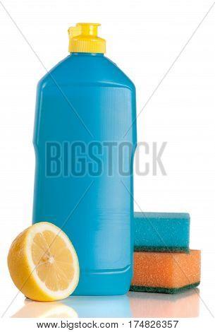 dishwashing detergent with sponge and lemon isolated on white background.