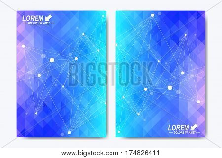 Modern vector template for brochure, Leaflet, flyer, advert, cover, catalog, magazine or annual report. Geometric background communication. Scientific particle compounds. Lines plexus. Card surface