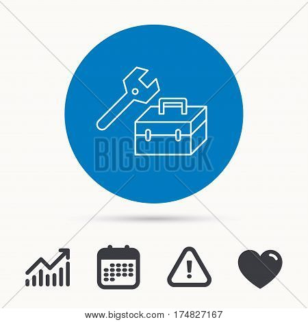 Repair toolbox icon. Wrench key sign. Calendar, attention sign and growth chart. Button with web icon. Vector