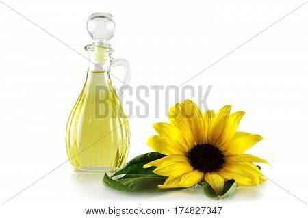 Sunflower oil in a decanter isolated on white