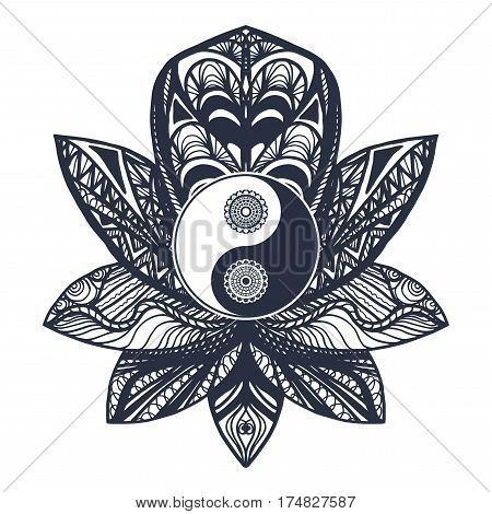 Vintage Yin And Yang In Lotus
