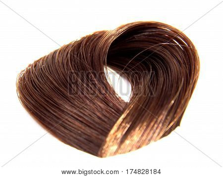 Sample of colorful hair on white background