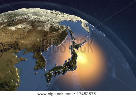 Planet Earth from space showing Japan with enhanced bump, 3D illustration, Elements of this image furnished by NASA