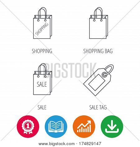 Shopping, sale bag and sale tag coupon icons. Special offer linear signs. Award medal, growth chart and opened book web icons. Download arrow. Vector