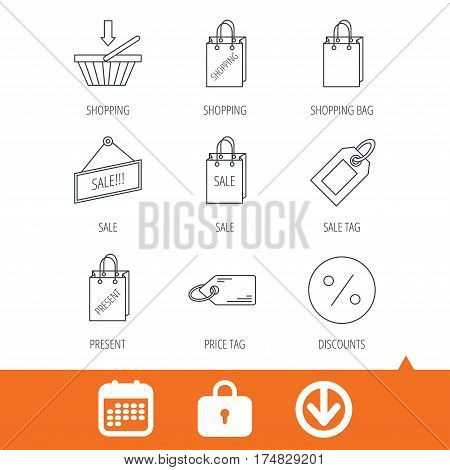Shopping cart, gift bag and sale coupon icons. Special offer label linear signs. Discount icon. Download arrow, locker and calendar web icons. Vector