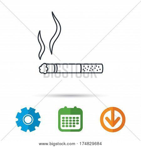 Smoking allowed icon. Yes smoke sign. Calendar, cogwheel and download arrow signs. Colored flat web icons. Vector