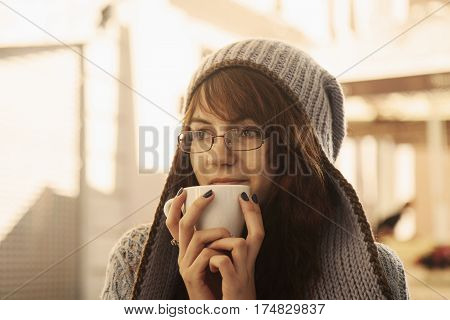 Beautiful business woman enjoying in a cup of coffee (drink activity taste)