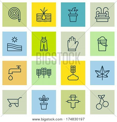 Set Of 16 Plant Icons. Includes Wheelbarrow, Water Monument, Protection Mitt And Other Symbols. Beautiful Design Elements.