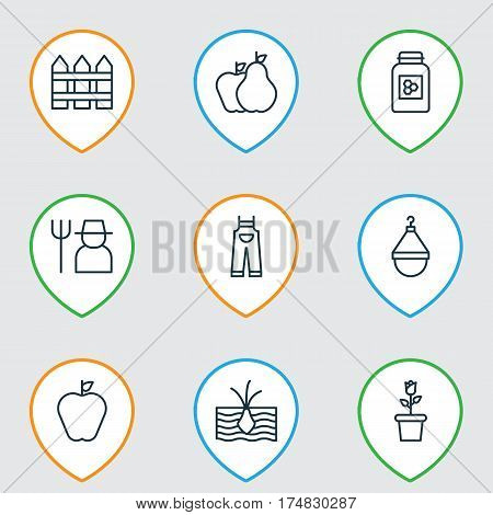 Set Of 9 Garden Icons. Includes Fruits, Grower, Growing Plant And Other Symbols. Beautiful Design Elements.