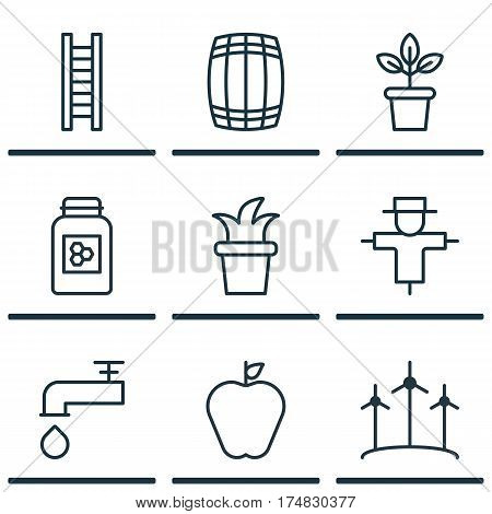 Set Of 9 Garden Icons. Includes Jar, Bugbear, Stairway And Other Symbols. Beautiful Design Elements.
