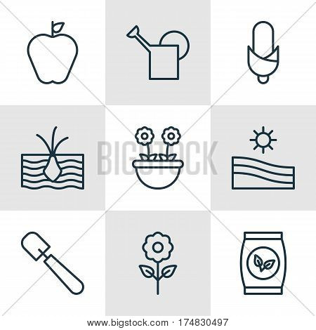 Set Of 9 Agriculture Icons. Includes Growing Plant, Taste Apple, Meadow And Other Symbols. Beautiful Design Elements.