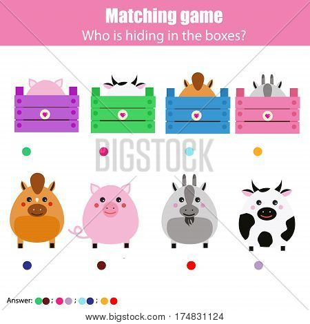 Match the animals with box children education game. Learning animals theme kids activity. Farm theme