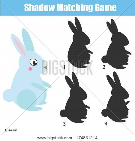 Shadow matching game for children. Find the right correct shadow task for kids preschool and school age. Rabbit character