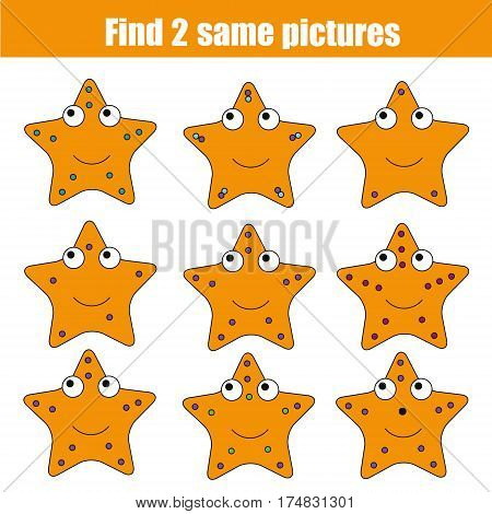 Find the same pictures children educational game. Find equal pairs of starfish kids activity