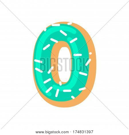 Number 0 Donut. Doughnut Font Zero. Sweet Alphabet. Candy Lettering. Food Abc Sign