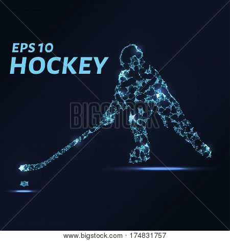 Hockey Player Consists Of Points, Lines And Triangles. The Polygon Shape In The Form Of A Silhouette