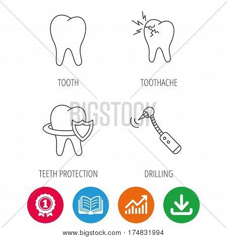 Tooth, toothache and drilling tool icons. Teeth protection linear sign. Award medal, growth chart and opened book web icons. Download arrow. Vector