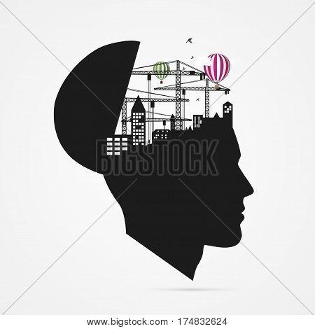 Human brain. creative imagination concept with city under reconstruction. Vector illustration