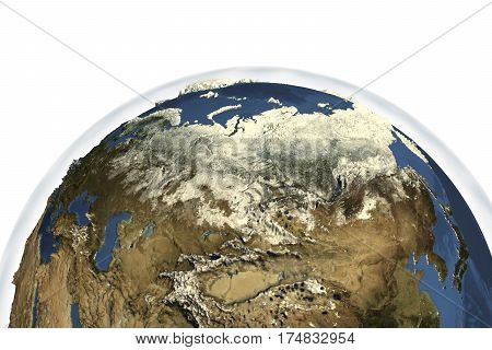 Planet Earth from space showing Russia in winter with enhanced bump, 3D illustration, Elements of this image furnished by NASA