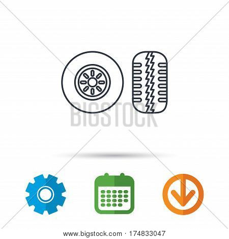 Tire tread icon. Car wheel sign. Calendar, cogwheel and download arrow signs. Colored flat web icons. Vector