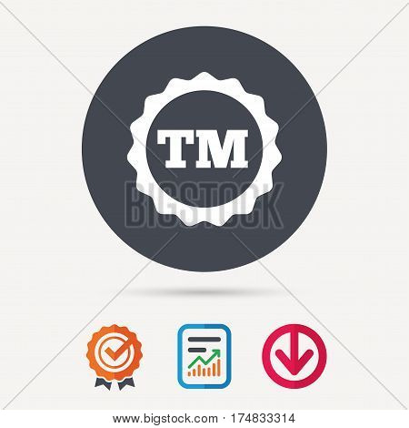 Registered TM trademark icon. Intellectual work protection symbol. Report document, award medal with tick and new tag signs. Colored flat web icons. Vector