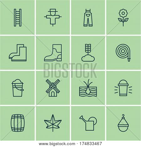 Set Of 16 Planting Icons. Includes Cask, Growing Plant, Rubber Boot And Other Symbols. Beautiful Design Elements.