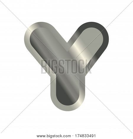 Letter Y Steel Font. Metal Alphabet Sign. Iron Abc Symbol. Chromium Lettering. Silver Typography