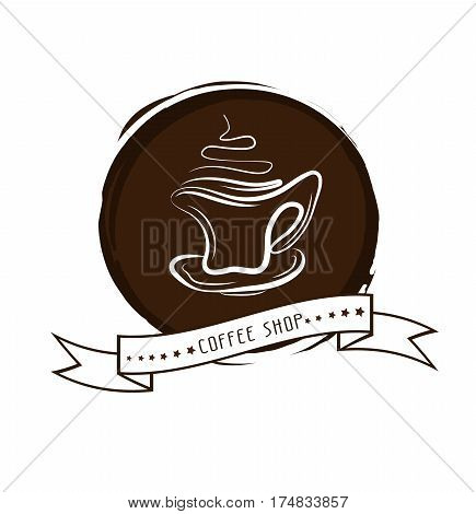 Vector illustration of cup of hot coffee. Concept image of coffeehouse restaurant menu cafe coffee shop