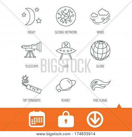 Ufo, planet and telescope icons. World, global network and night linear signs. TNT dynamite, fire flame and wind flat line icons. Download arrow, locker and calendar web icons. Vector