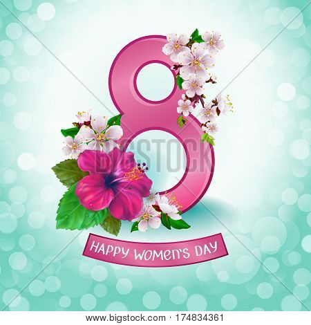 8 March. Floral Greeting card. Happy Women's Day. Background template for International Womens Day. Vector illustration.