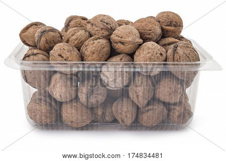 Box or punnet of dried walnuts isolated on a white background