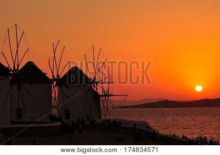 sunset on Mykonos island next famous windmills