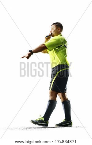Professional soccer referee penalty isolated on the white background poster