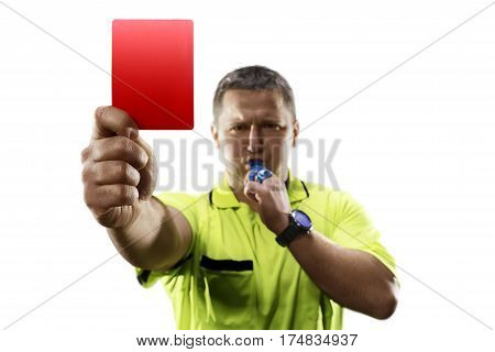 Angry professional soccer referee is giving the red card on white background