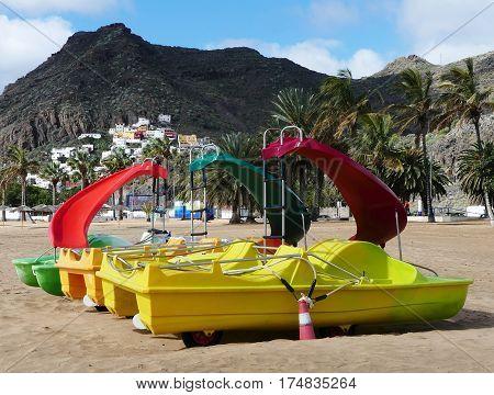 idylic beach Teresitas on island Tenerife in Spain