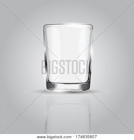 Empty drinking glass cup on grey background vector